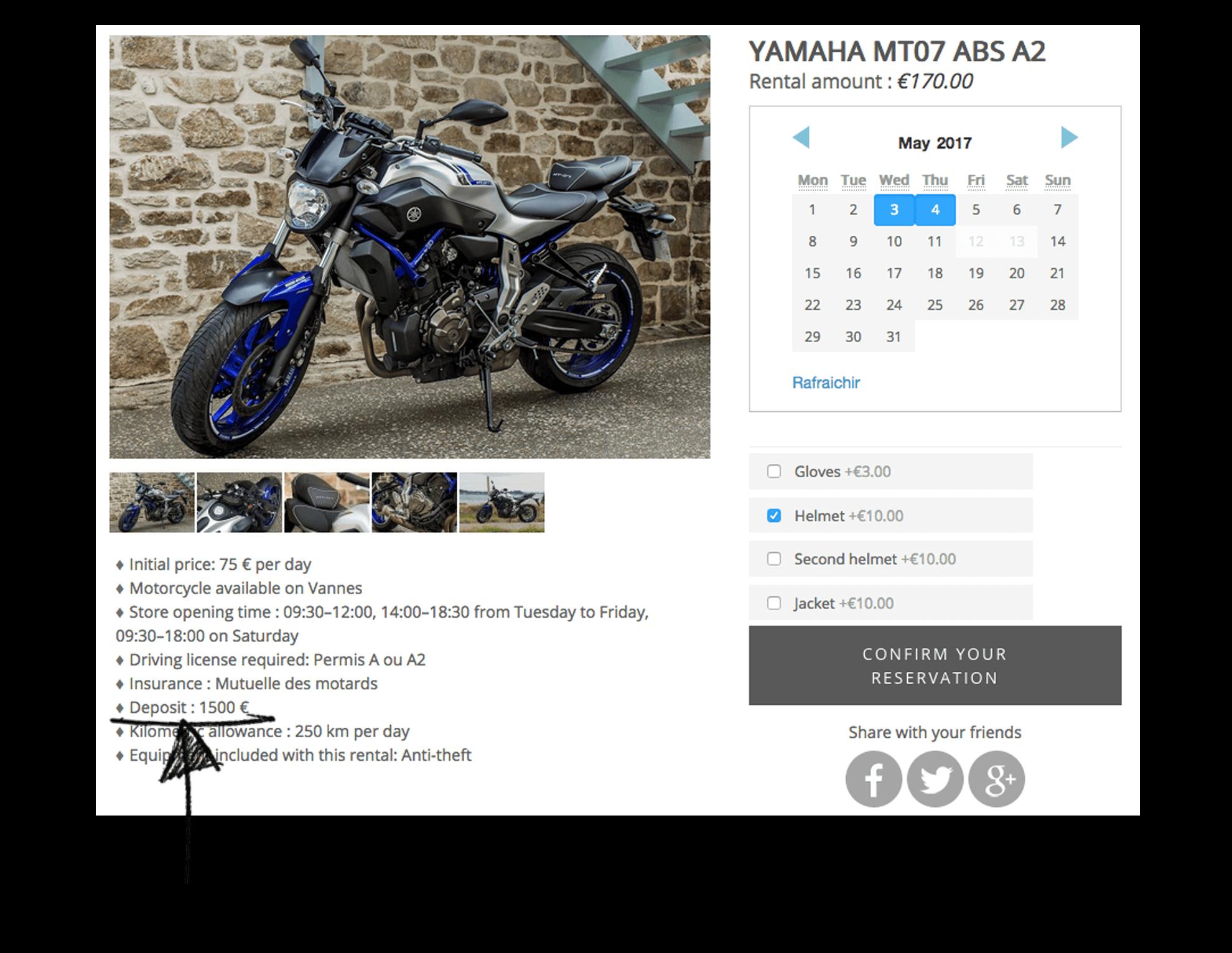 Deposite renting motorcyle