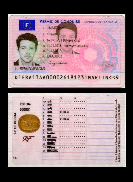 Exemple permis de conduire